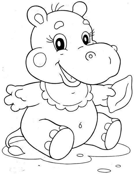 Raskraska Dibujos Ojos De Caricatura Hipopotamos Dibujo