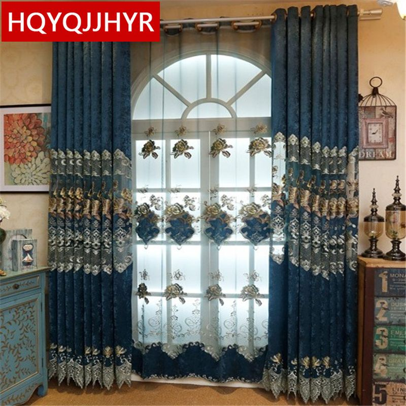 2017 Hot Custom European Royal Blue Big Flower Luxury Curtains For Unique Luxury Curtains For Living Room Design Ideas