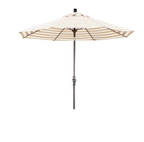 Eclipse Collection 9 Fiberglass Market Umbrella Collar Tilt Bronze/Olefin/Khaki-Beige Stripe