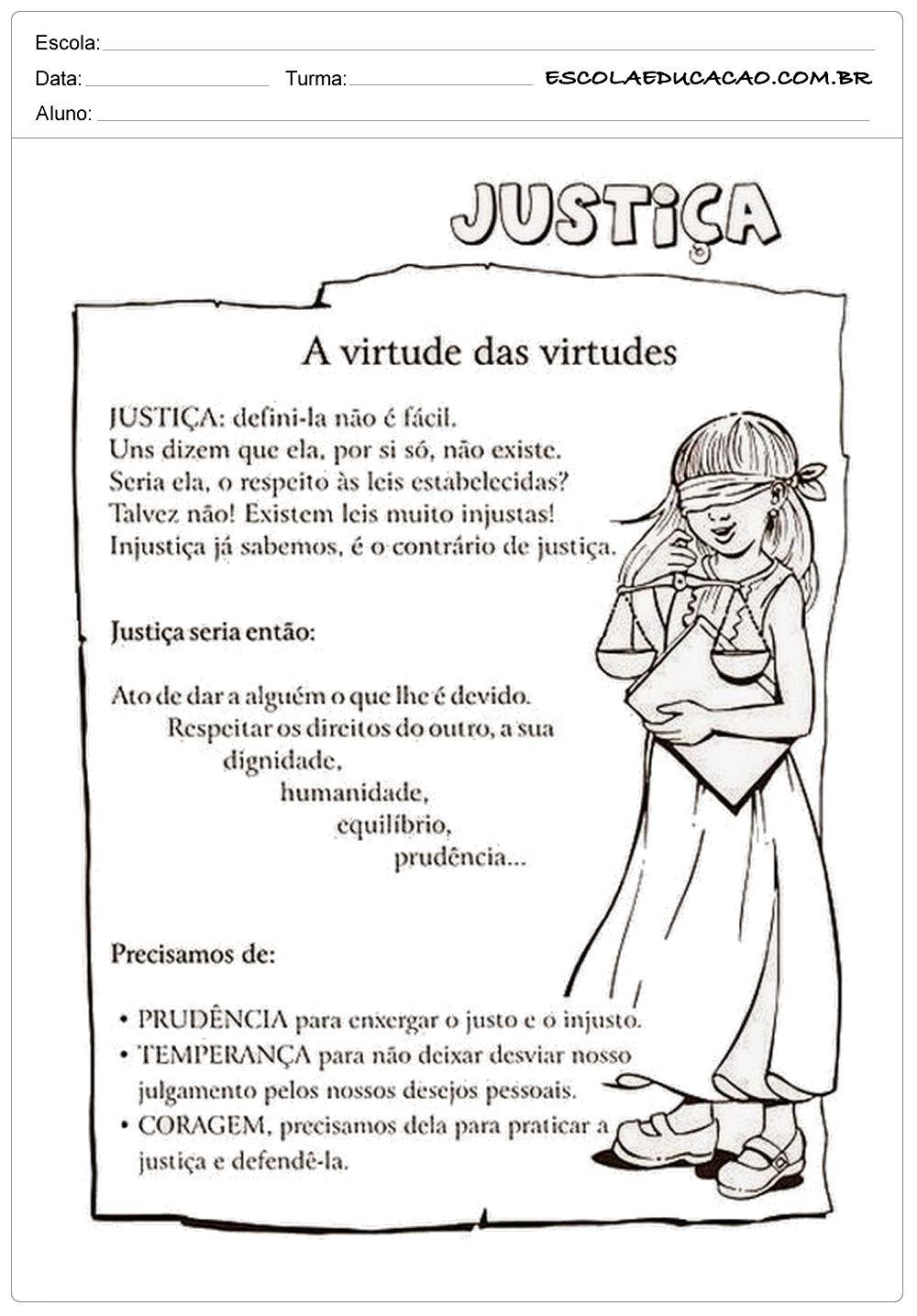 Atividades De Ensino Religioso Justica Com Imagens Ensino