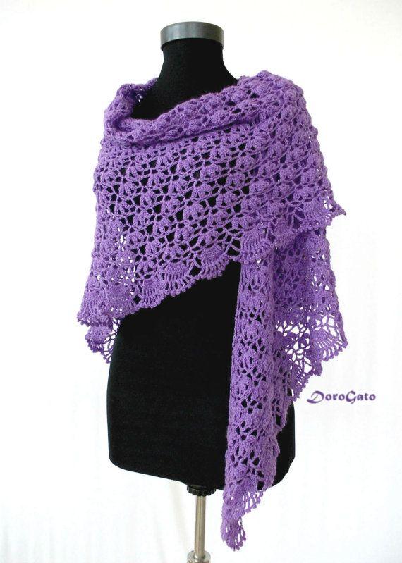 Crochet shawl pattern, Triangle shawl pattern, lace stole pattern ...