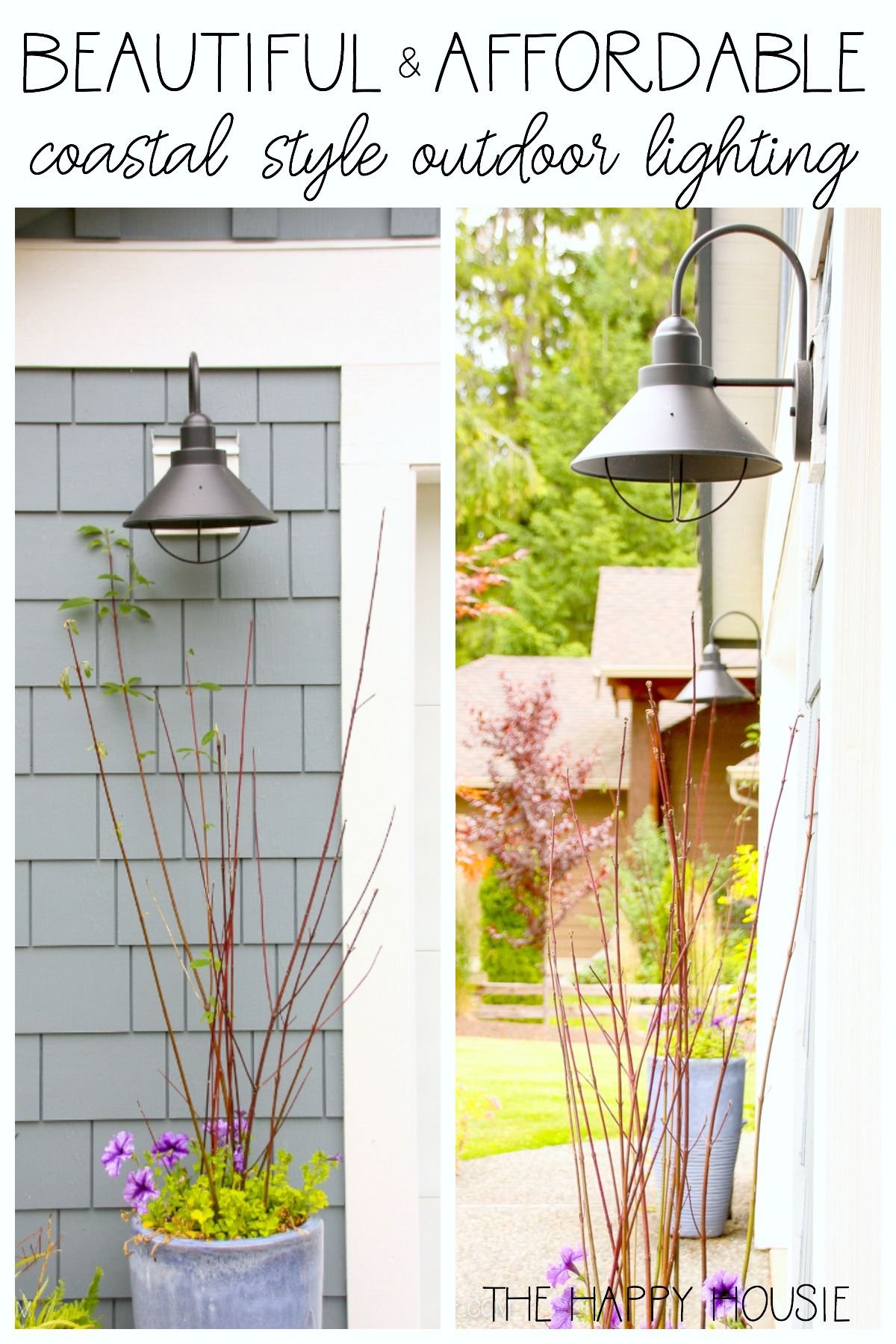 Affordable Coastal Outdoor Lighting Update The Happy Housie Rustic Outdoor Lighting Outdoor Lighting Cottage Outdoor