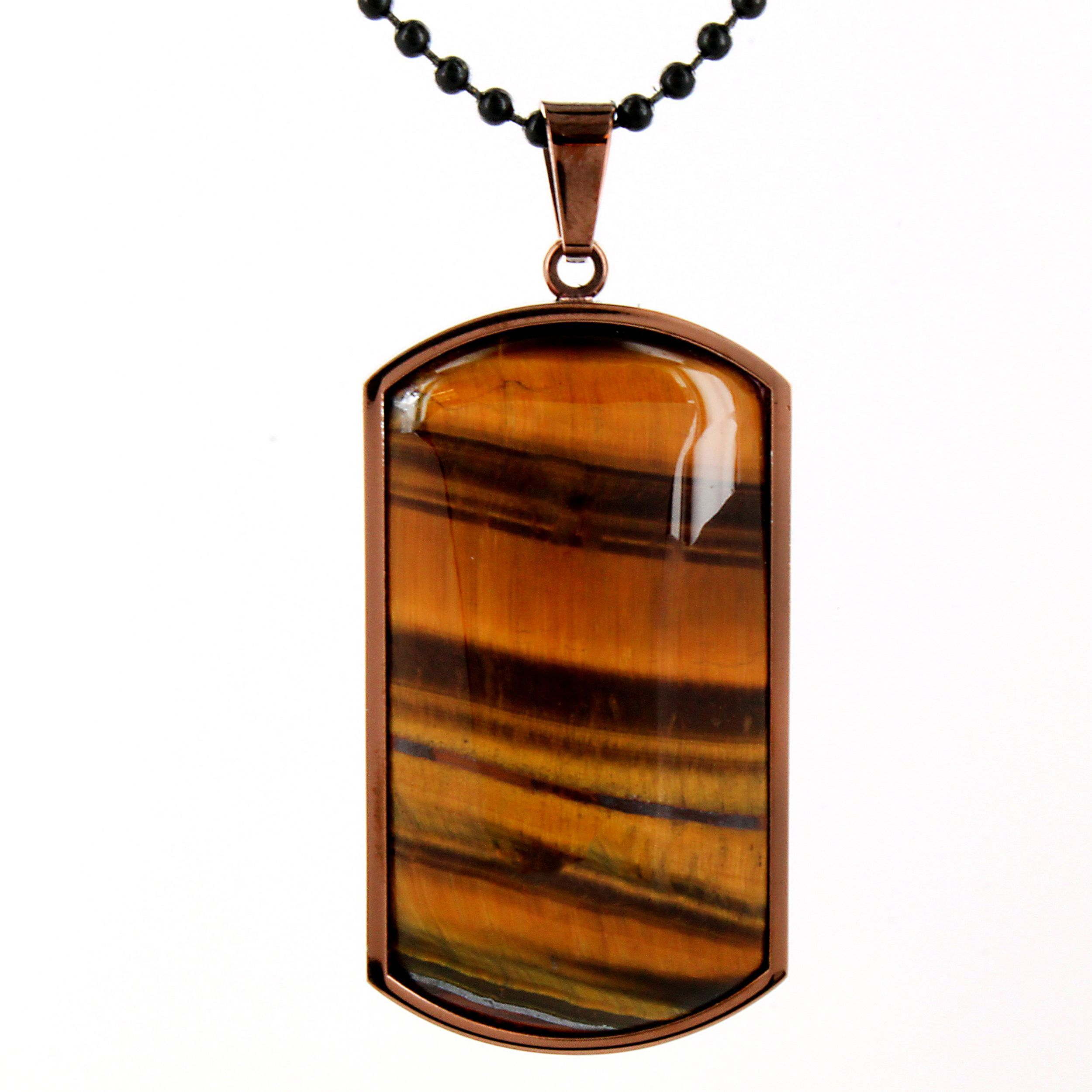 West Coast Jewelry Coppertone Stainless Steel Tiger's Eye Domed Dog Tag Necklace, Women's