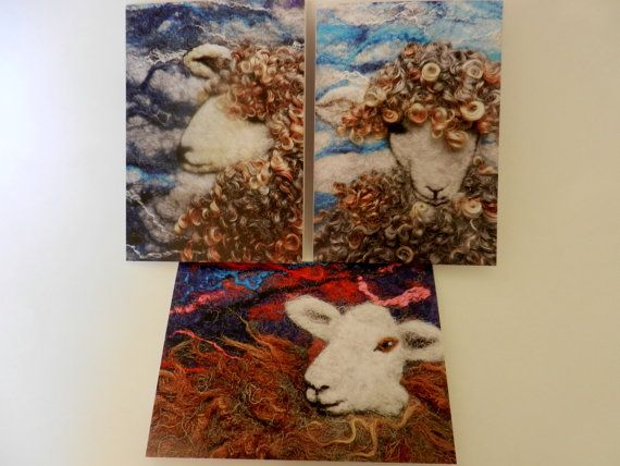 Blank Greetings Cards x 3  Beautiful Sheep by WildernessFelt, £6.75
