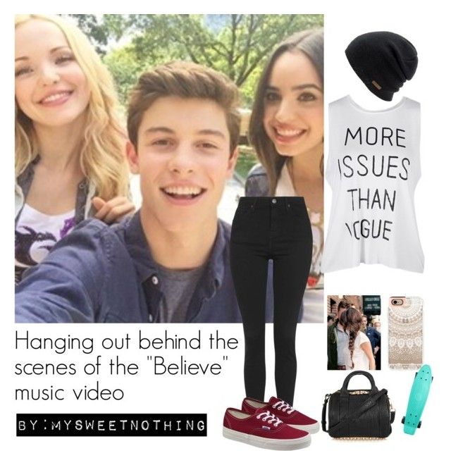 """Hanging out behind the scenes of the ""Believe"" music video"" by mysweetnothing ❤ liked on Polyvore featuring Topshop, Vans, Coal, Casetify, Alexander Wang, outfits, dovecameron and shawnmendes"
