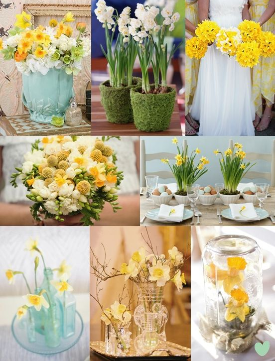 Daffodil Centrepiece Wedding Flower Ideas