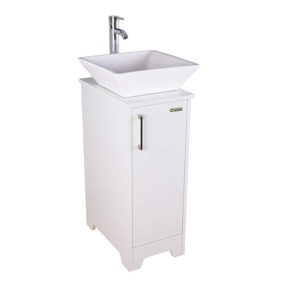 Eclife 13 Bathroom Vanity Sink Combo White Small Cabinet W White Ceramic Vessel Sink 1 5 Gpm Water Industrial Bathroom Design Vanity Sink Bathroom Furniture [ 1000 x 1000 Pixel ]