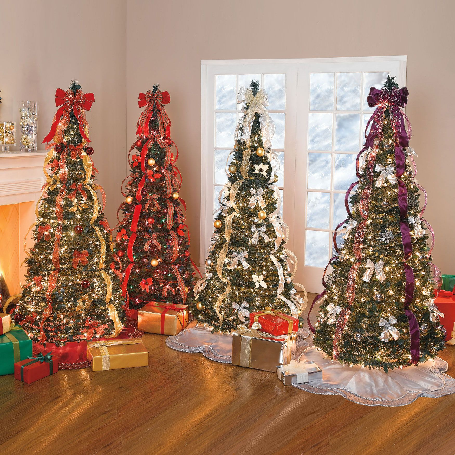 artificial christmas trees brylanehome flat to fabulous fully decorated pre lit tree red