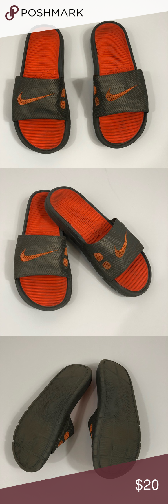 a177a1161ae512  Nike  Orange + Gray Slides Good used condition! Size mens 8 will fits