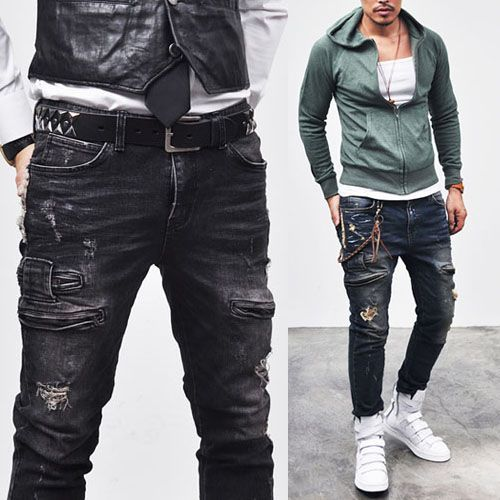 Vintage Hardcore Zipper Biker Jeans 97 Mens Fashion
