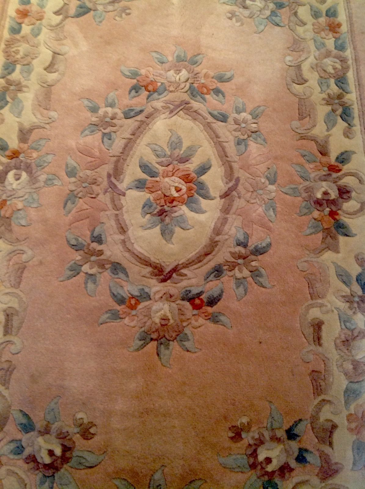 Wool Aubusson Chinese Rug Carpet With Pink Background 152 X 91 Cms Ebay