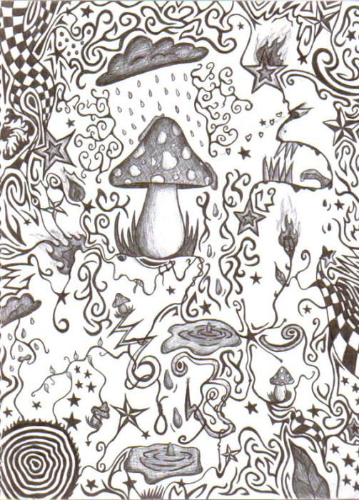 Crazy Drawings Trippy Coloring Pages Teikning Moon