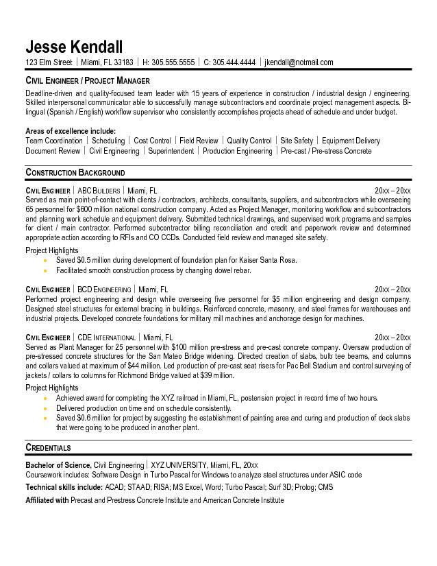 Civil Engineering Resume Format For Fresher Pdf Sample Project