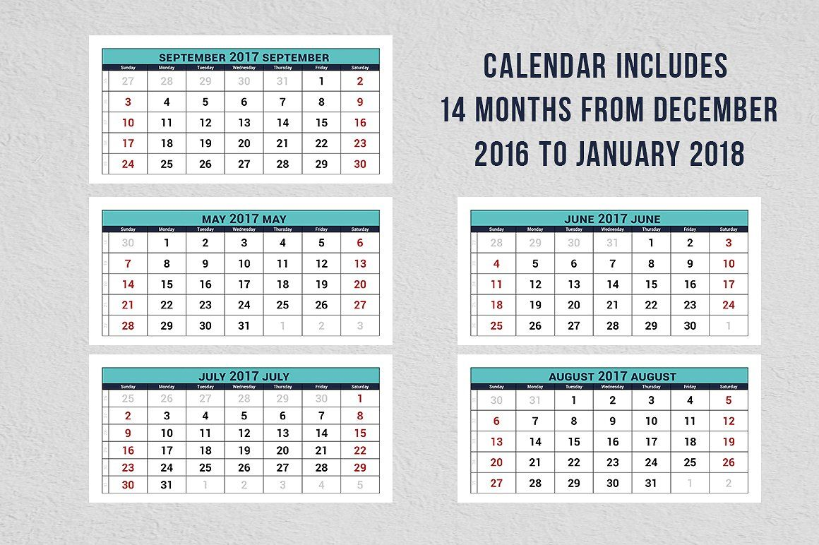 2017 Quarterly Calendar Template