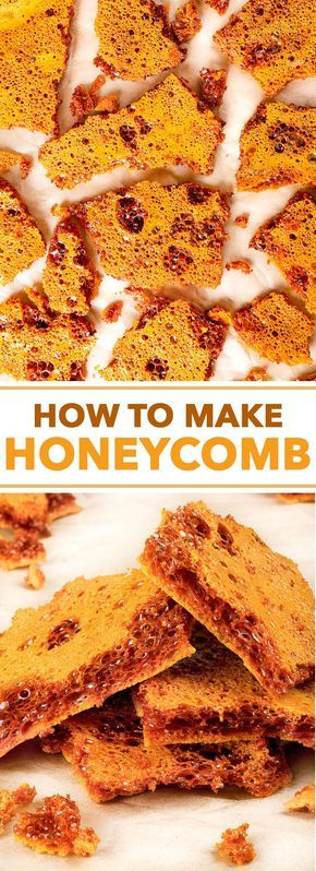 How To Make Homemade Honeycomb Candy - Ever wondered how to make honeycomb? Well, wonder no more – this quick and easy recipe for homemade honeycomb candy requires only 4 ingredients and 10 minutes! This delicious candy is gluten, dairy, egg, soy and nut free, and the recipe also has a vegan option. #honeycombcandy