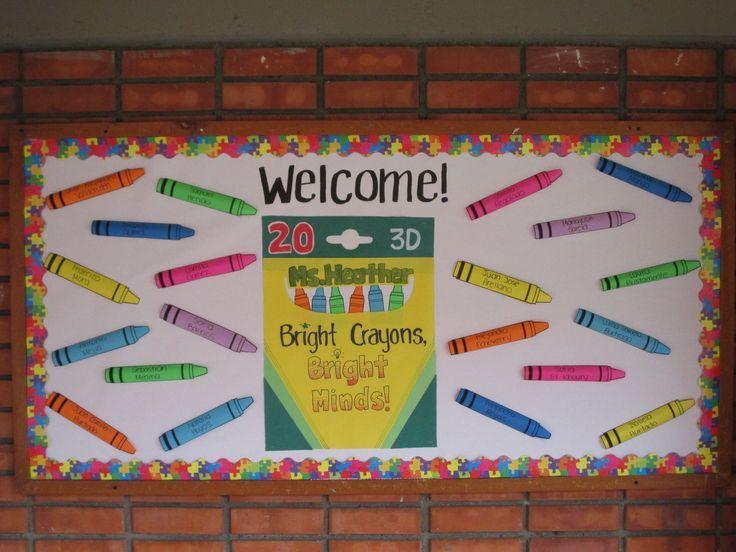 Pin By Sam Heather On School Pinterest Crayon Bulletin Boards Kindergarten Bulletin Boards Bright Crayons