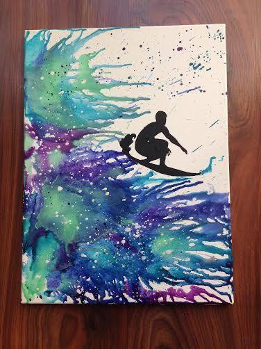 Silhouette De Surf Fondu Colorie Art Par Crayongogh Sur Etsy