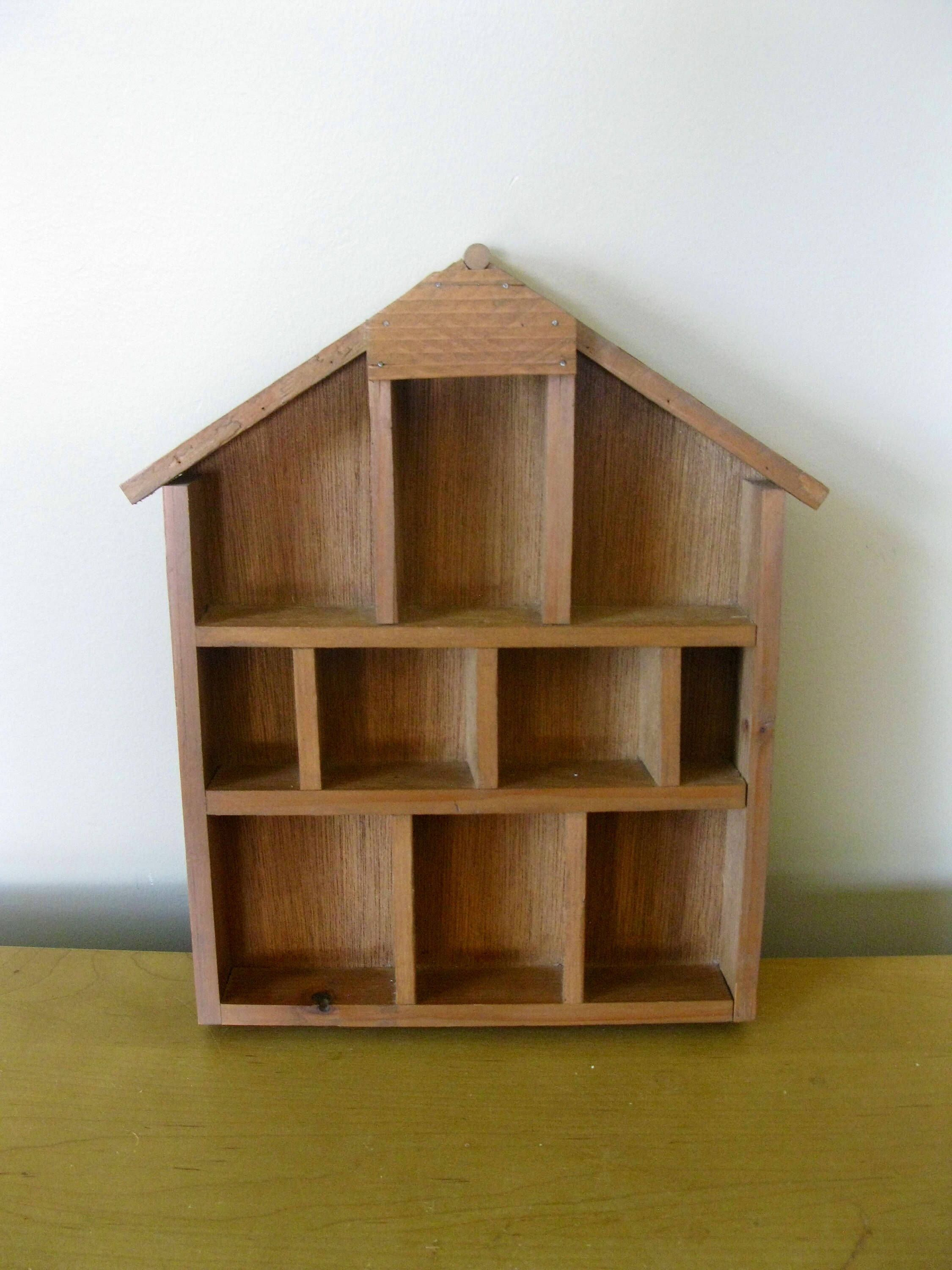 Wood Shadow Box 12 1 2 X 10 1 2 House Shaped Knick Knack Trinket Display Case Wall Curio Miniature Collections Case 15 Compartment Wood Shadow Box Shadow Box Display Case