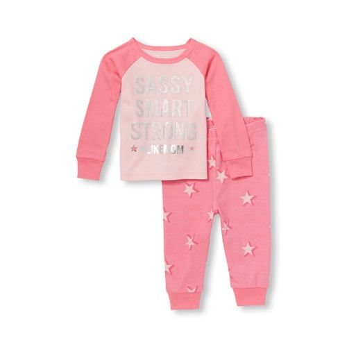 Baby And Toddler Girls Long Raglan Sleeve Foil  Hashtag Like Mom  Top And  Star Printed Pants Snug-Fit Pj Set e4c7b6762