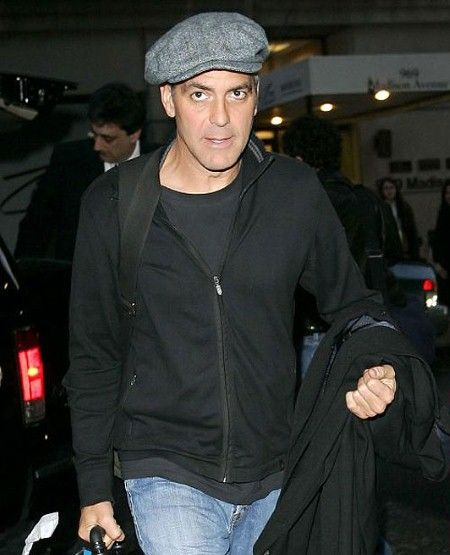george clooney fashion | Stylish celebrities in flat caps ...