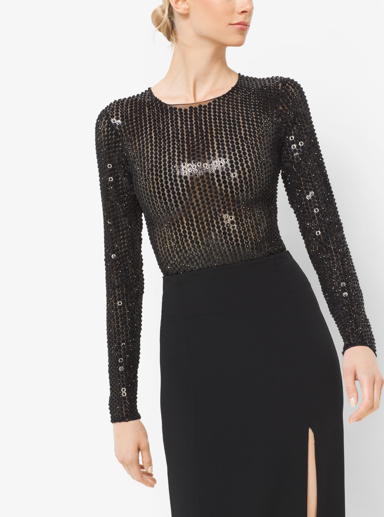 63569de9cb Sequin-Embroidered Stretch-Tulle Bodysuit