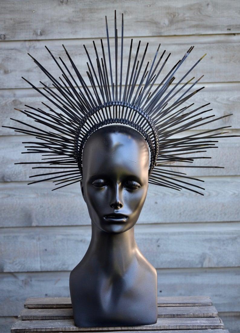 Black halo gothic headdress Gothic black wreath with crown of thorns headpiece Christ thorn crown
