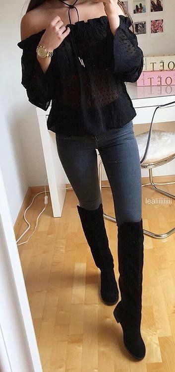 9c8be6c020b Off Shoulder Top + Grey Skinny Jeans + Black Velvet Knee High Boots