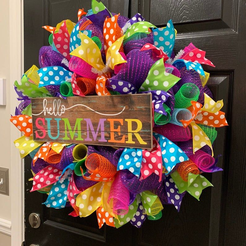 Summer Wreath, Welcome Wreath, Polka dot wreath, Hello Wreath, Hello Summer Wreath
