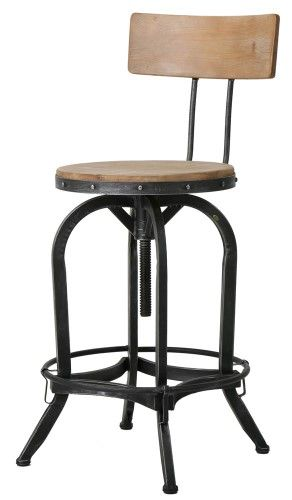 Paisley Naturally Antique Fir Wood Barstool With Backrest With