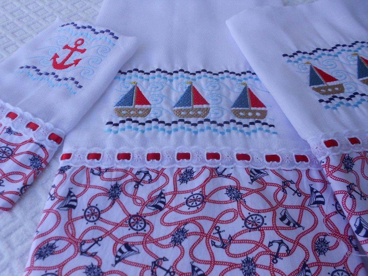 Kit bordado,personalizado com desenhos marinheiro e acabamento em tecido 100%algodão.