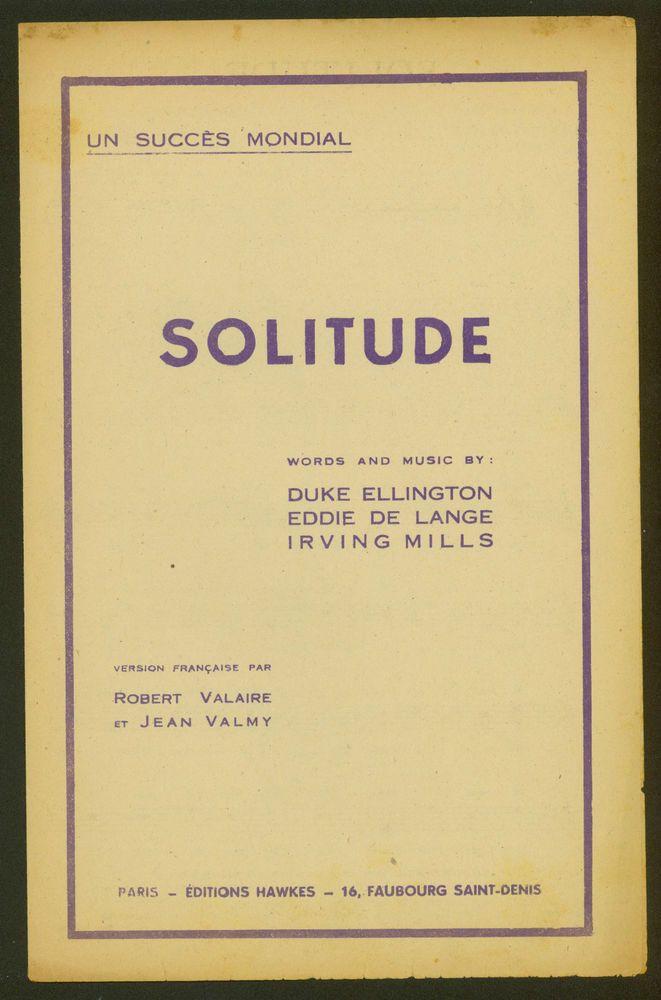 DUKE ELLINGTON - EDDIE DE LANGE - IRVING MILLS - SOLITUDE - 1934 - JAZZ