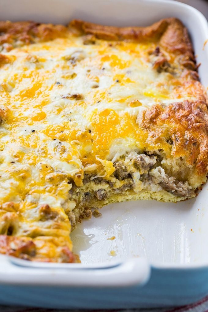 Sausage and Crescent Roll Casserole - Spicy Southern Kitchen