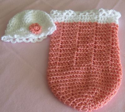 Preemie Baby Cocoon, Childs Doll Cocoon, Melon..Hat White with Melon ...