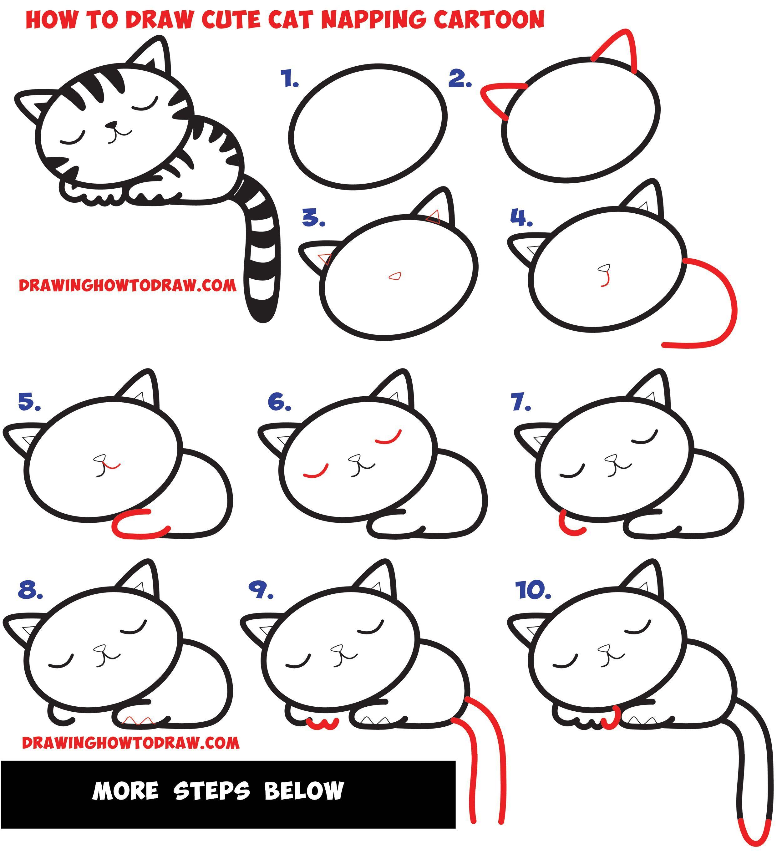 How To Draw A Supercute Kawaii Cartoon Cat Kitten Napping Easy