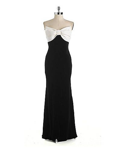 Contrasting Bow Bodice Gown Lord And Taylor My Style Pinterest