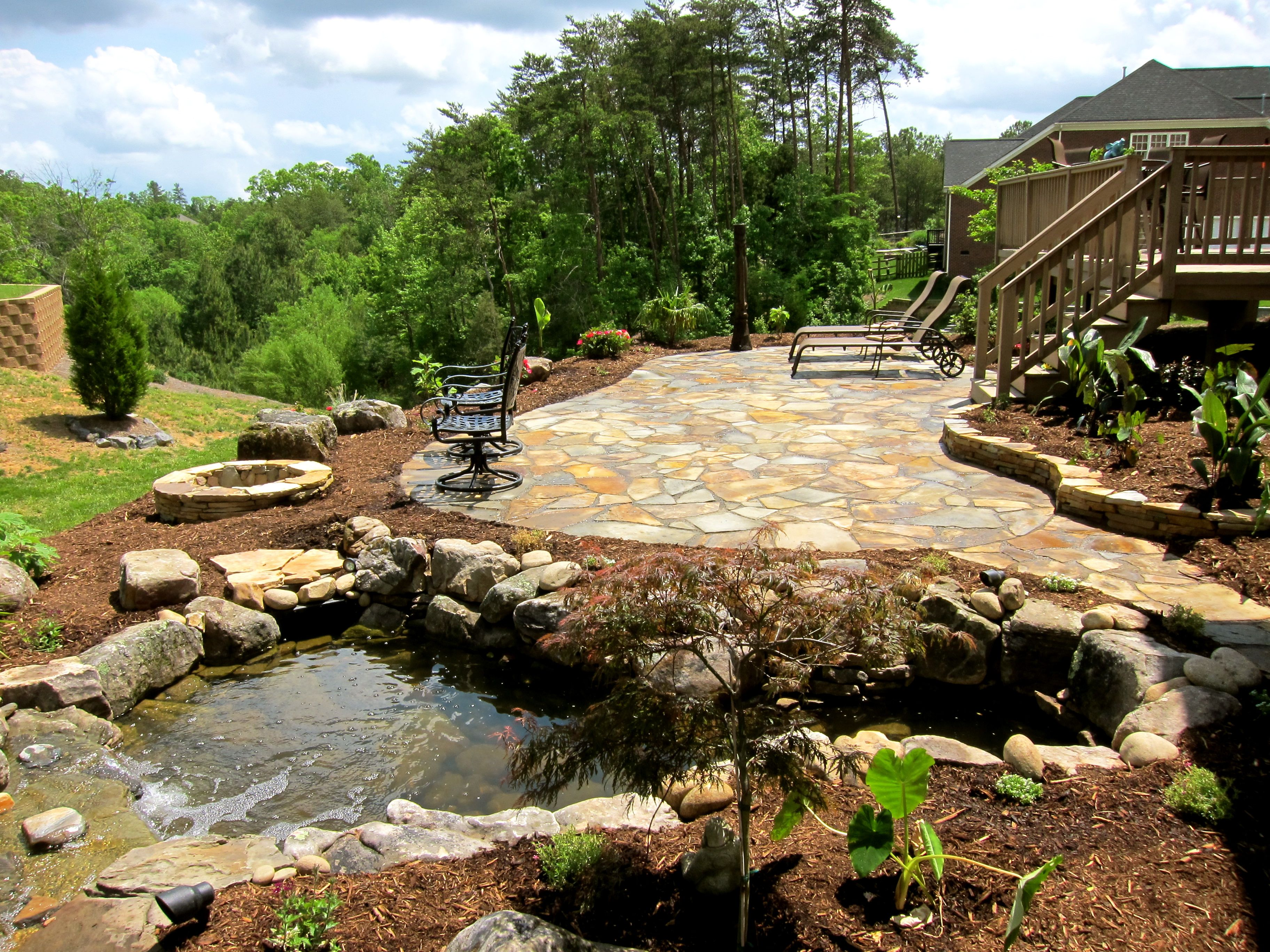 Our Backyard Outdoor Living Space Design By All Natural Streams Landscaping Backyard Landscape Design Fountains Backyard