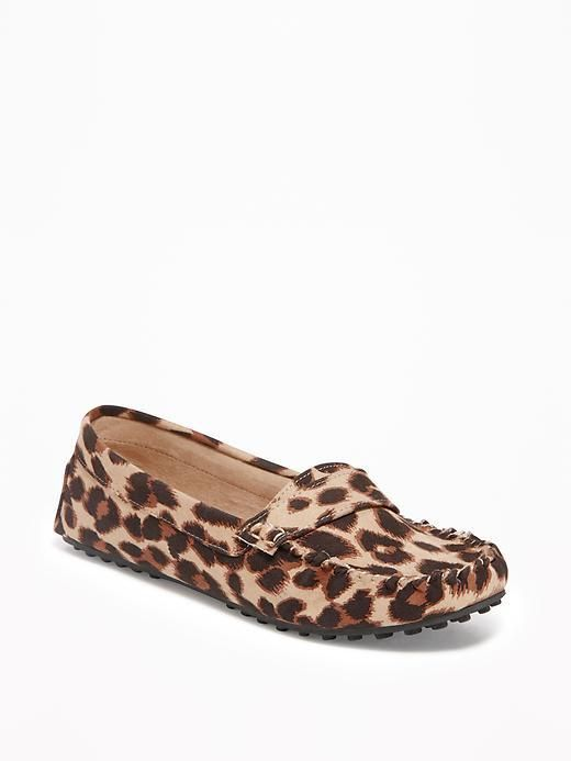 c7154bb6bba Sueded Leopard-Print Driving Moccasins for Women ad