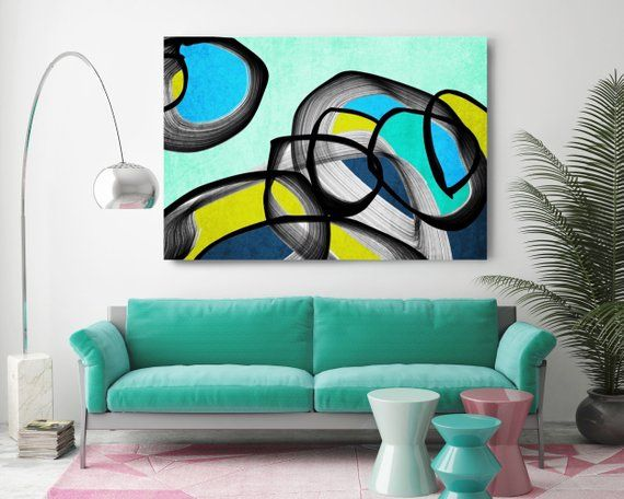Vibrant Colorful Abstract-65. Mid-Century Modern Green