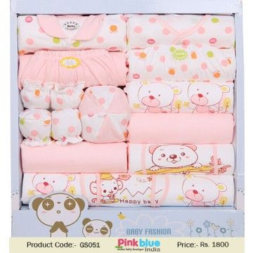 Beautiful pink newborn gift set baby clothing gift set baby buy soft and comfortable luxury newborn baby gifts set in pink and white color print at online store in india this beautiful packaging personalized gift negle Images