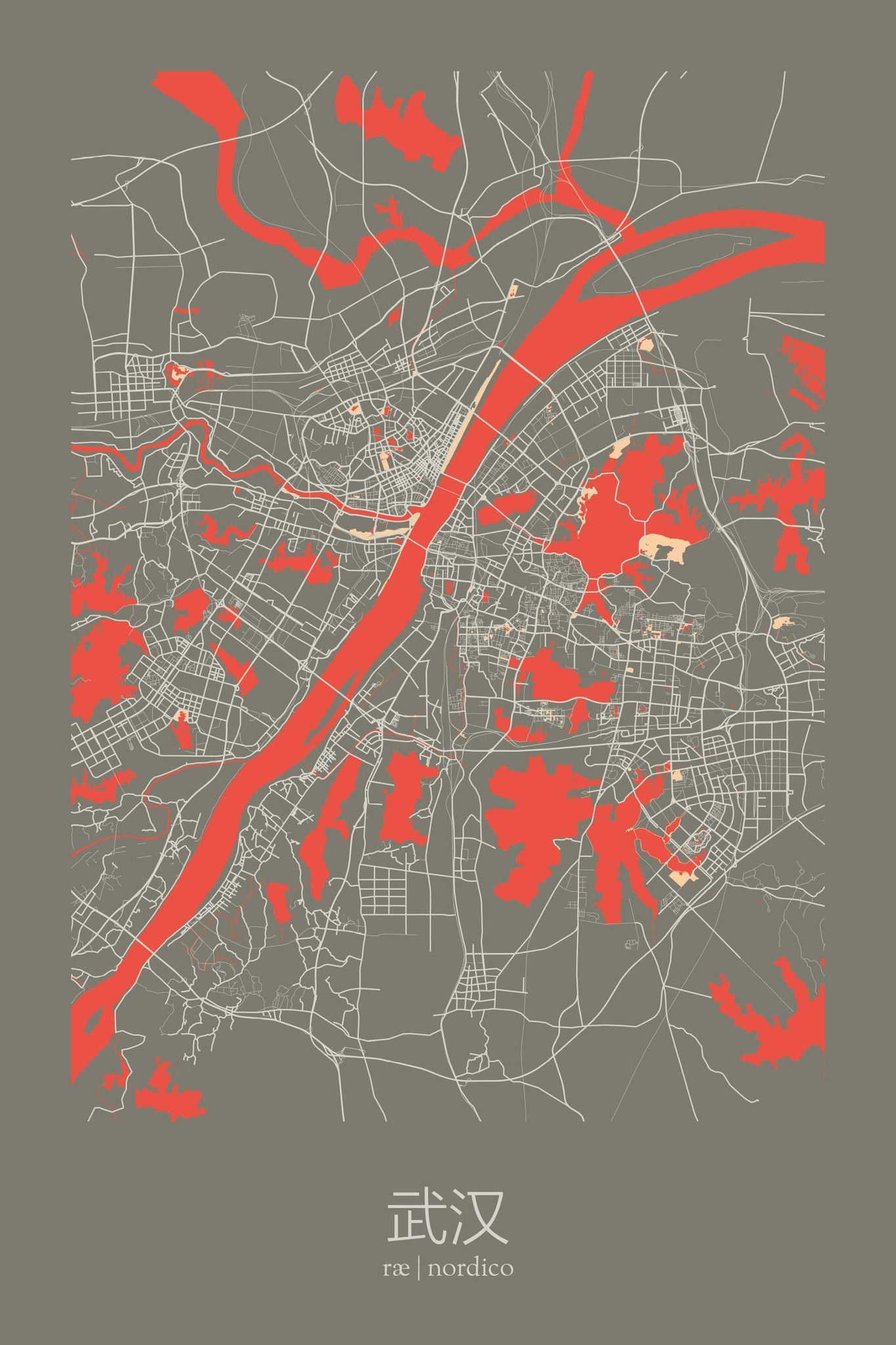 Wuhan china map print artwork pinterest wuhan china and wuhan china map print gumiabroncs Choice Image