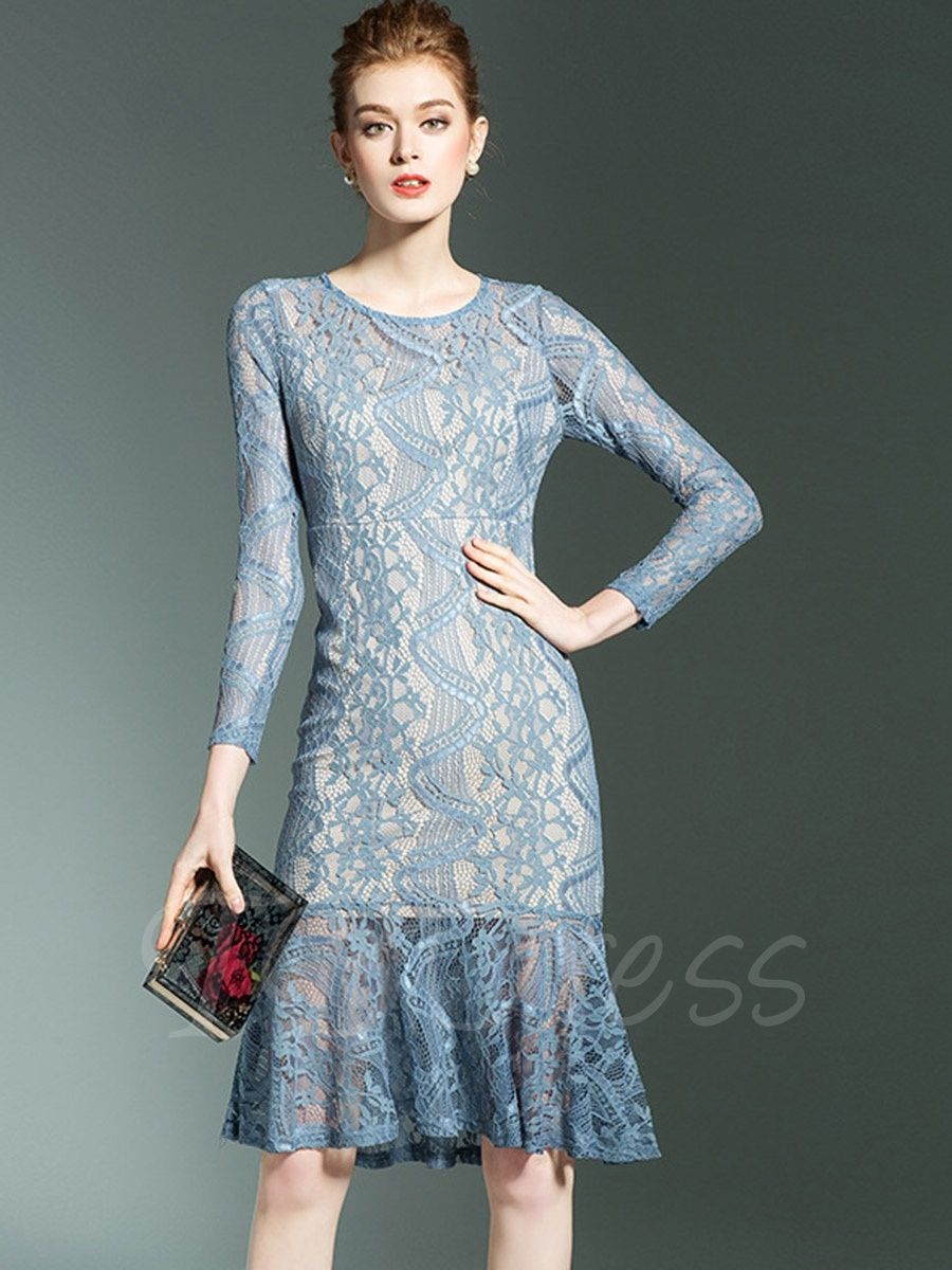 Long Sleeve Fishtail Women\'s Lace Dress | Fishtail, Lace dress and Woman