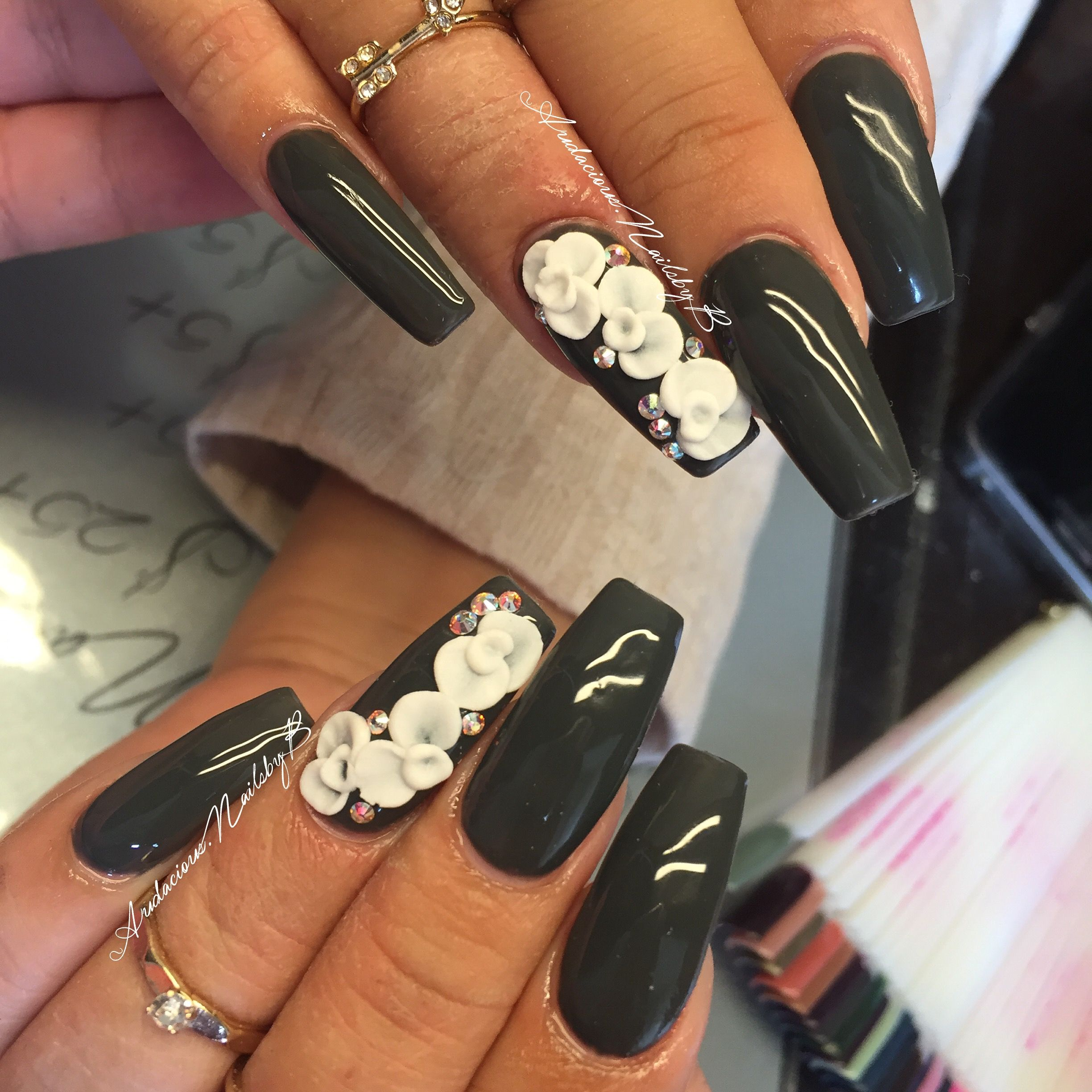 Coffin acrylic nails dark grey gray 3D flowers spring nails follow ...