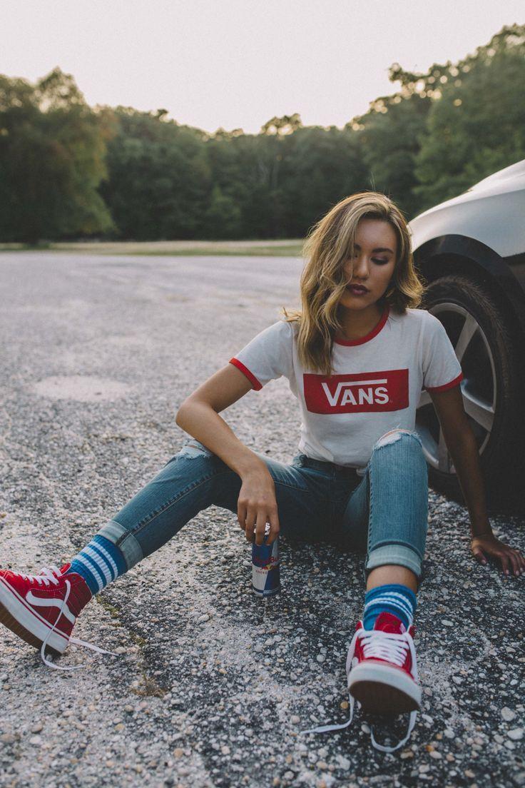 red sk8 hi vans outfit