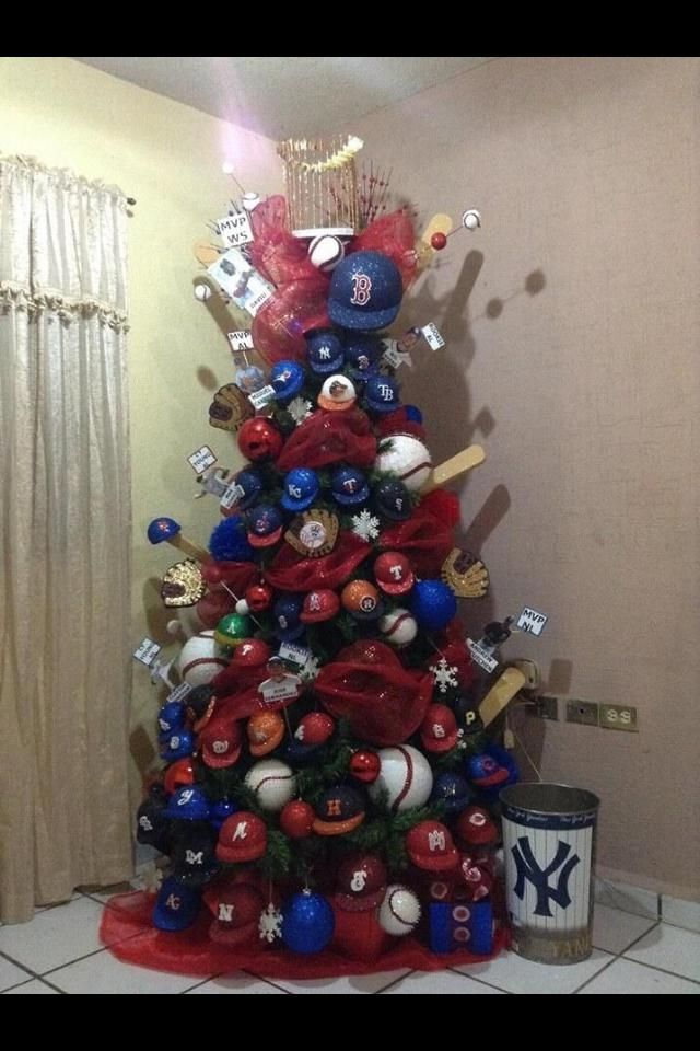 A baseball decorated Christmas tree But all