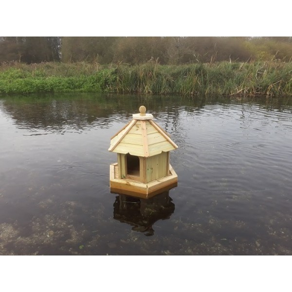 Buttercup Hexagonal Floating Duck House Small Waterfowl Nesting Box for Pond or Lake