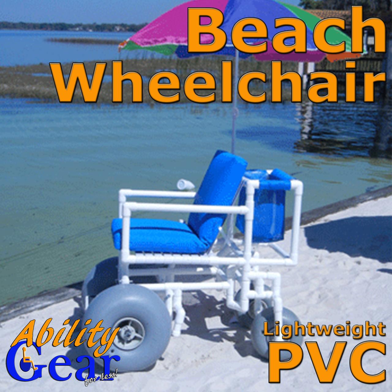 Ability Gear For Less - Beach Wheelchair PVC Style with Rear Pivot Wheels, $1,088.88 (http://www.abilitygearforless.com/beach-wheelchair-pvc-style-with-rear-pivot-wheels/)