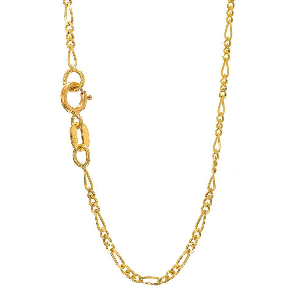 Jewelstop k solid yellow gold mm figaro chain bracelet spring