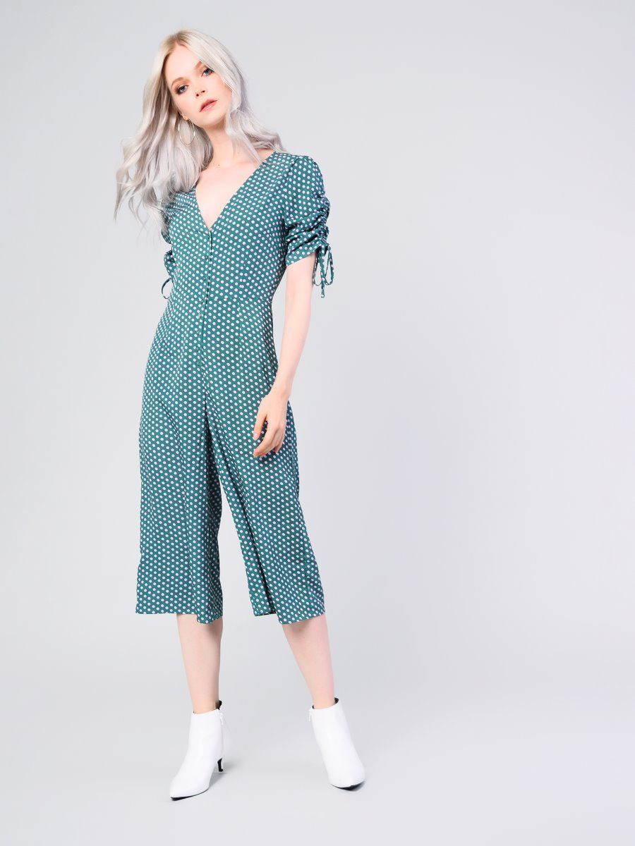 2364b704bae Green Lilac Spot Ruched Sleeve Culotte Jumpsuit