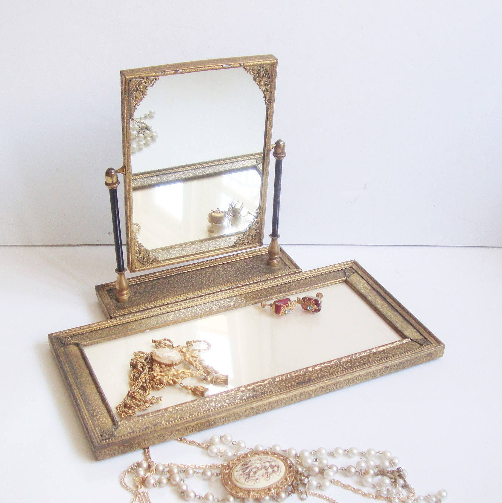 Folding Vanity Mirror Attached Jewelry / Perfume Tray, Antique Swivel  Makeup Mirror, Stand Up