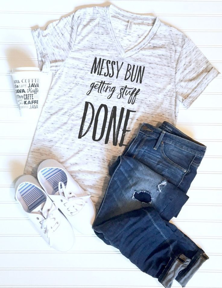 Messy Bun Getting Stuff Done - funny quote graphic tee. Only $22 free shipping!